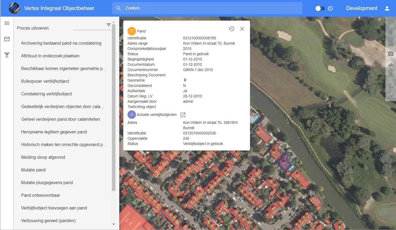 Screenshot Vertex Objecten BAG gemeente Bunnik en gemeente de Bilt