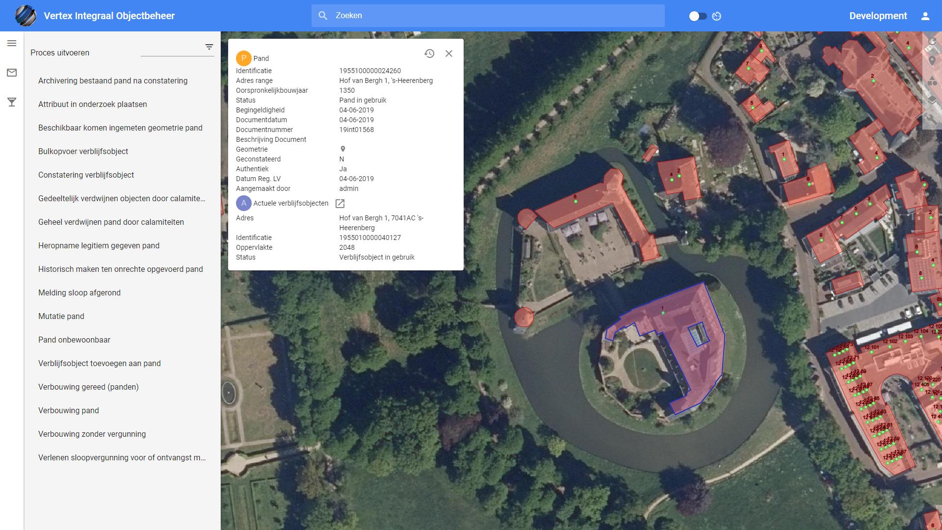 Screenshot gemeente Montferland in Vertex Objecten BAG